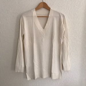Ann Taylor Ivory V-Neck Sweater